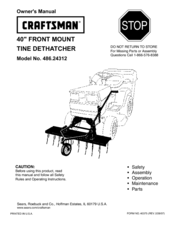 Craftsman Tine Dethatcher 48624312 Owners Manual Pdf Download