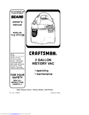 Craftsman 113.177135 Owner's Manual