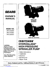 Craftsman HYDROGLASS 390.262553 Owner's Manual