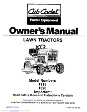 CUB CADET 1315 OWNER'S MANUAL Pdf Download
