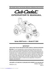 CUB CADET SERIES 3000 TRACTOR GT 3200 OPERATOR'S MANUAL Pdf