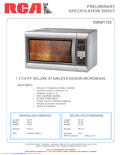 RCA RMW1102 Specification Sheet