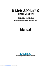 D-Link 802.11g Wireless LAN USB Adapter DWL-G122 Manual
