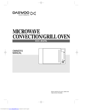Daewoo Koc 8h4tsl Owner S Manual 23 Pages Electronics Microwave Convection Grilloven