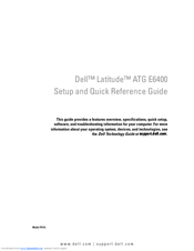 Dell Latitude E6400 ATG Setup And Quick Reference Manual