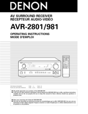 DENON AVR-2801 OPERATING INSTRUCTIONS MANUAL Pdf Download