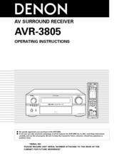 denon avr 3805 operating instructions manual pdf download rh manualslib com denon avr-3805 owners manual denon avr 2805 manual pdf