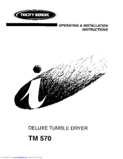 Tricity Bendix TM 570 Operating & Installation Instructions Manual