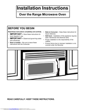 Electrolux E30mh65gps Icon Microwave Installation Instructions Manual