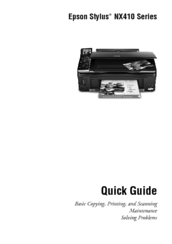EPSON STYLUS NX410 SERIES QUICK MANUAL Pdf Download