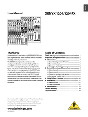 behringer xenyx 2442fx pdf manual