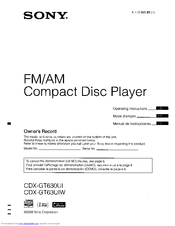 Sony CDX-GT63UIW - Fm/am Compact Disc Player Operating Instructions Manual
