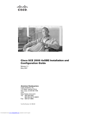 Cisco CE 2000 Platform SCE 2000 4xGBE Installation And Configuration Manual