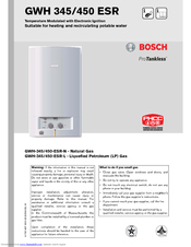 Bosch PROTANKLESS GWH 345 User Manual
