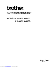 Brother LX-200 Parts Reference List