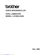 Brother LX-300 Parts Reference List