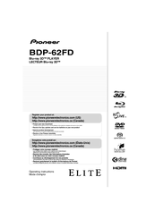Pioneer Elite BDP-62FD Operating Instructions Manual