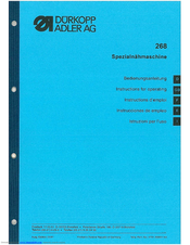 Duerkopp Adler 268 Instructions For Operating Manual