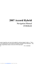 HONDA ACCORD Navigation Manual