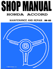 HONDA 1987 Accord Repair Manual