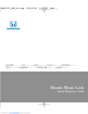HONDA Music Link Quick Reference Manual