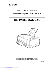 Epson Stylus Color 800 Service Manual