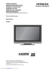 hitachi p42a01 manuals rh manualslib com Hitachi TV Hitachi 42 Plasma TV