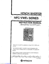 Hitachi HFC-VWE2 SERIES Instruction Manual