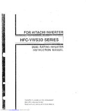 Hitachi HFC-VWS3D Series Instruction Manual