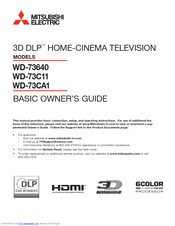 Mitsubishi Electric 3D DLP WD-73C11 Basic Owner's Manual