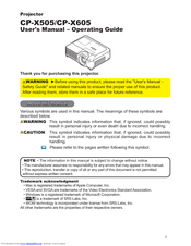 Hitachi CP-X505W and User's Manual And Operating Manual