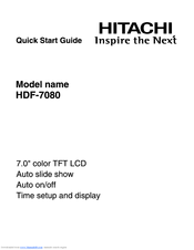 Hitachi HDF-7080 Quick Start Manual
