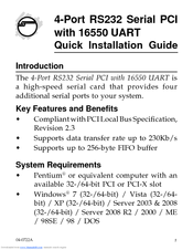Siig 4-Port RS232 Serial PCI with 16550 UART Manuals