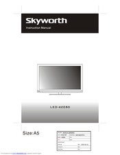 Skyworth LED-42E60 Manuals