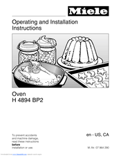 Miele H 4894 BP2 Operating and Operating And Installation Manual