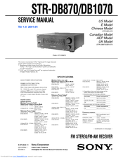 sony str db1070 fm stereo fm am receiver manuals rh manualslib com Sony Shelf Stereo Systems Sony Home Stereo