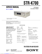 Sony STR-K700 - Fm Stereo/fm-am Receiver Service Manual