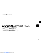 Ducati SUPERSPORT 1000 Owner's Manual