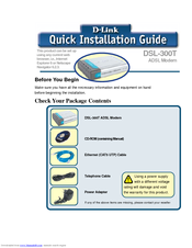 D-Link 300T - DSL - 8 Mbps Modem Quick Installation Manual