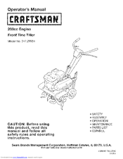 Craftsman 247 29934 Operator S Manual 68 Pages Front Tine