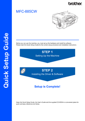Brother MFC 885CW - Color Inkjet - All-in-One Quick Setup Manual