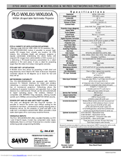 Sanyo PLC-WXU30A - 3700 Lumens Specification Sheet