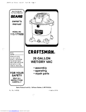 Craftsman 113.177630 Owner's Manual