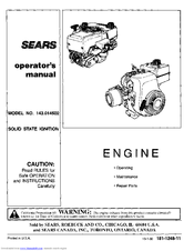Craftsman 143.014502 Operator's Manual