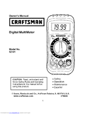 Craftsman 82141 Owner's Manual