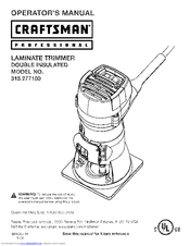 Craftsman 315.277150 Operator's Manual