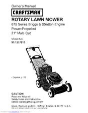 craftsman 917 377012 manuals rh manualslib com Sears Craftsman Riding Lawn Mower craftsman 875 series lawn mower manual