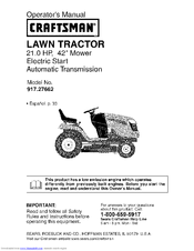 Craftsman 917.27662 Operator's Manual