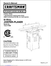 craftsman 152 217060 manuals rh manualslib com craftsman 6 jointer manual craftsman 6 jointer manual