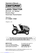 Craftsman 917.276861 Operator's Manual